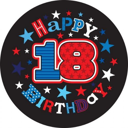Badge 15cm Happy Birthday Age 18 Male